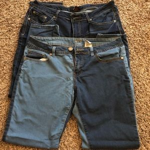 Two pairs of women's jeans.